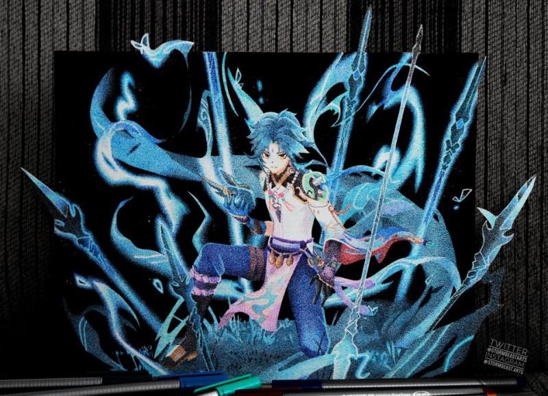 Терпеливый фанат Genshin Impact нарисовал портрет Сяо, используя 100 000 точек