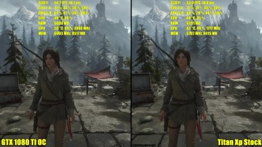 Rise Of The Tomb Raider Titan Xp Vs GTX 1080 TI OC 4K Частота кадров Сравнение