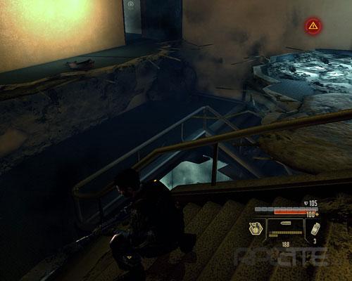 Спускайтесь по лестнице в проломе