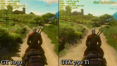 Nvidia GT 1030 vs GTX 750 Ti - Witcher 3 - 1080p
