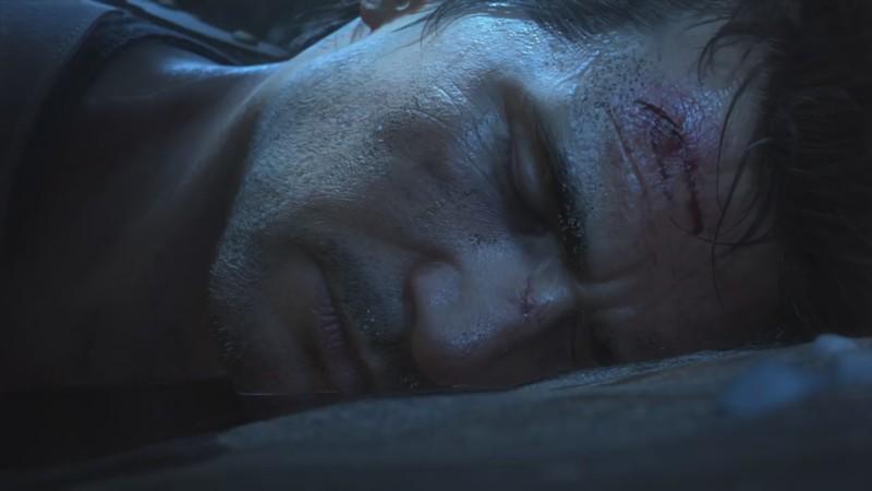 Дрейк лежит на песке и выглядит как мёртвый (хотя потом он, конечно, пришел в себя, поднялся и побрёл куда-то в джунгли под зловещую музыку). One last time, ага…