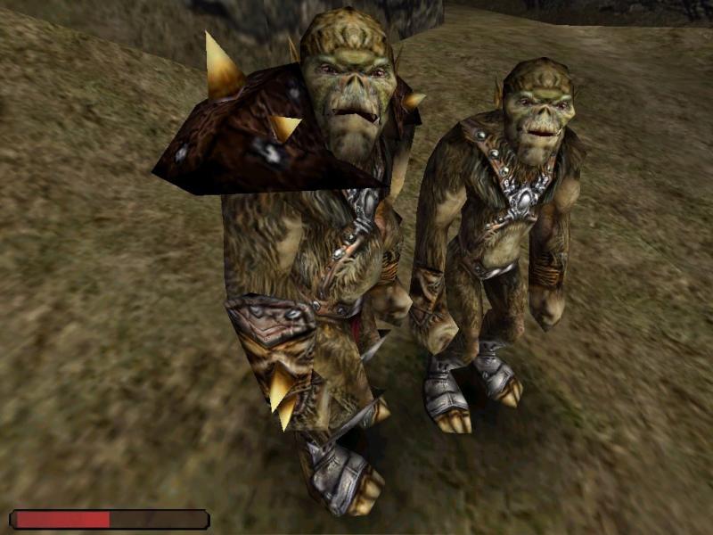 Ранняя версия орков: взрослого и юного. Последний был вырезан из игры