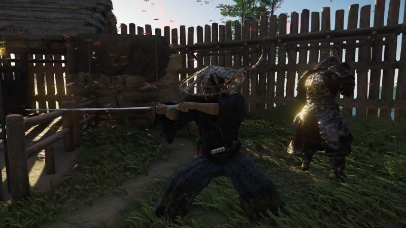В игре есть кровища и расчлененка, но отрубить можно только правою руку. Ну и голову и только у предводителя после изучения стойки призрака.