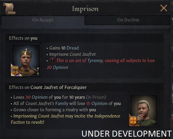 Скриншот, предупреждающий игрока, что заключение в тюрьму этого вассала может спровоцировать восстание фракции