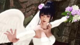 Красивые девушки в недешёвых свадебных нарядах в роликах Dead or Alive 6