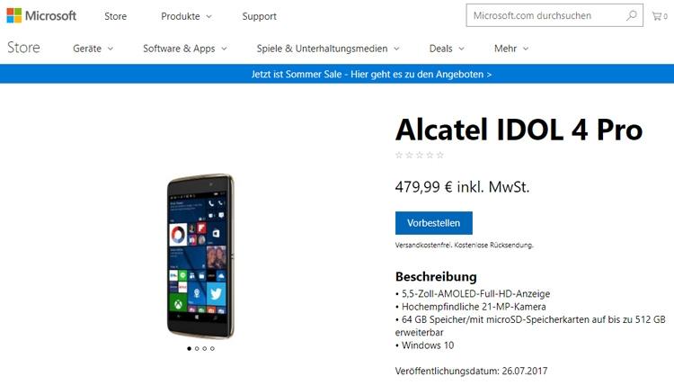 Запущен европейский предзаказ наWindows-смартфон Alcatel Idol 4 Pro