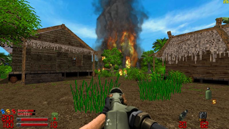 Burning huts