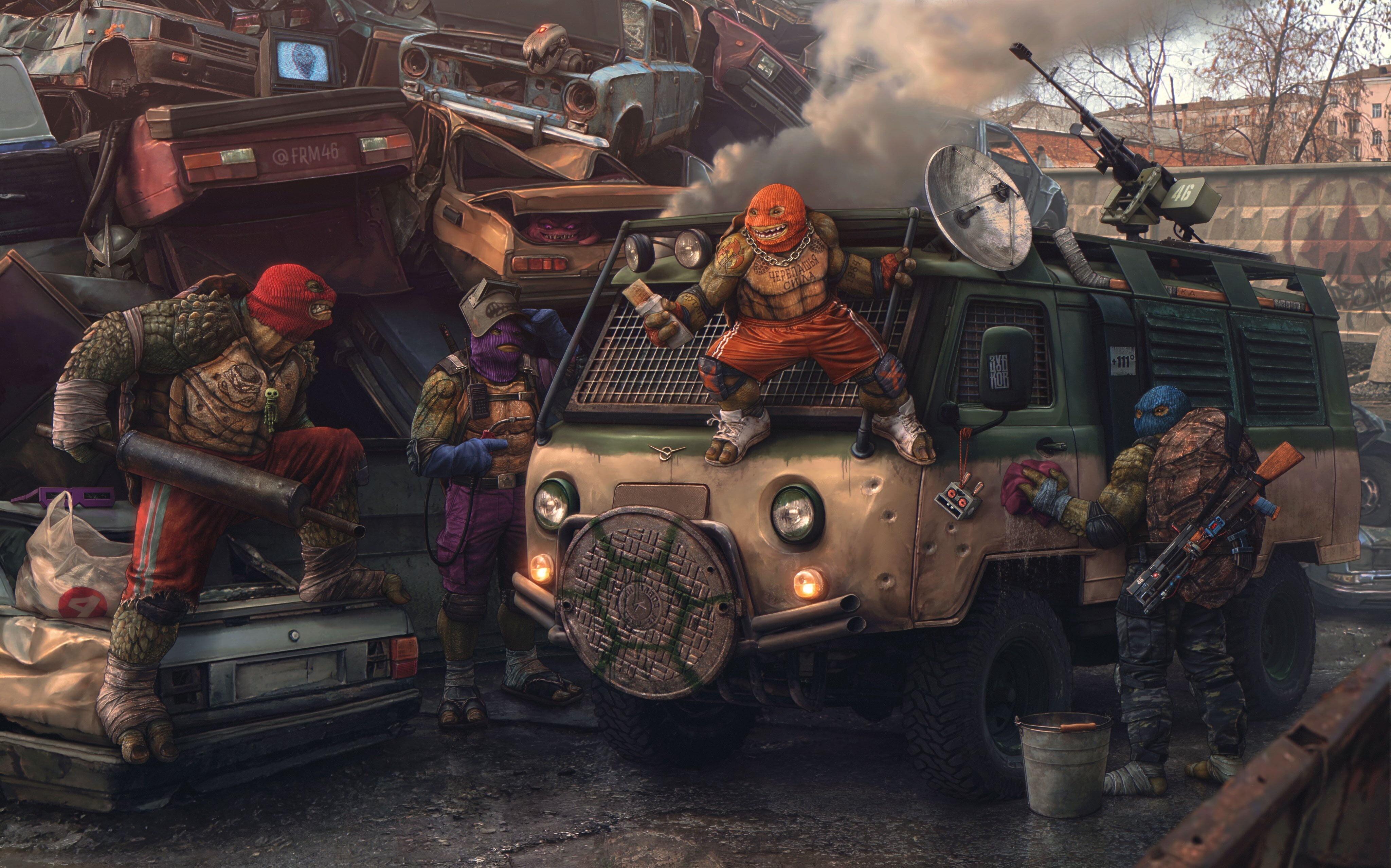 """""""Русские Черепашки-ниндзя"""" - художник изобразил известных героев в стиле """"лихих 90-х"""""""