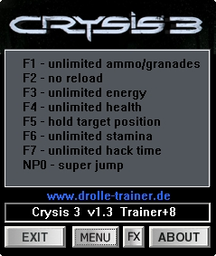 Crysis 3: Trainer (+8) [1.3 / 1.5] {dR.oLLe}