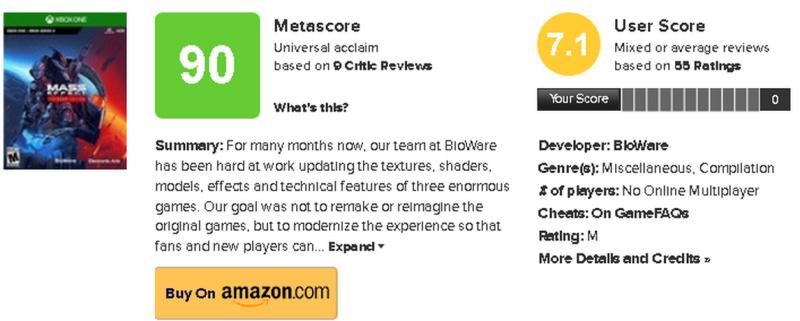 Mass Effect Legendary Edition - появились оценки от игроков на Metacritic