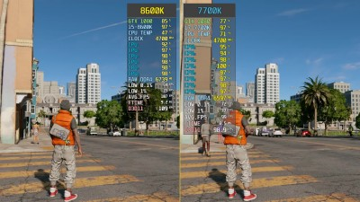 Сравнение частоты кадров - Watch Dogs 2 <u>обзор</u> i5-8600K vs. i7-7700K | GTX 1080 (wolfgang)