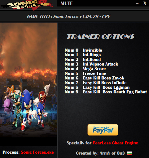 Sonic Forces: Trainer (+10) [1.04.79 - CPY] {ArmY of 0n3}