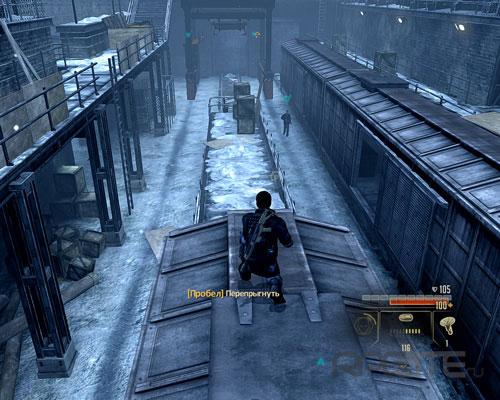 Пройдите по балкону и перепрыгните на крышу поезда