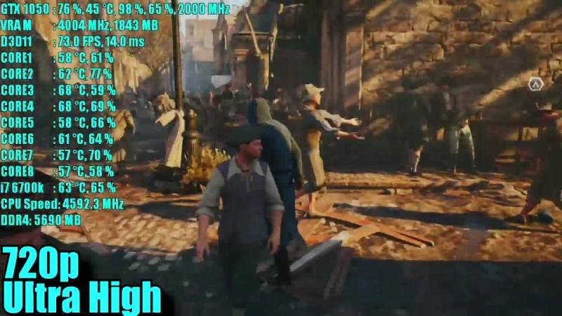 Assassins Creed Unity GTX 1050 2GB OC | 1080p - 900p и 720p | Фреймрейт ТЕСТ