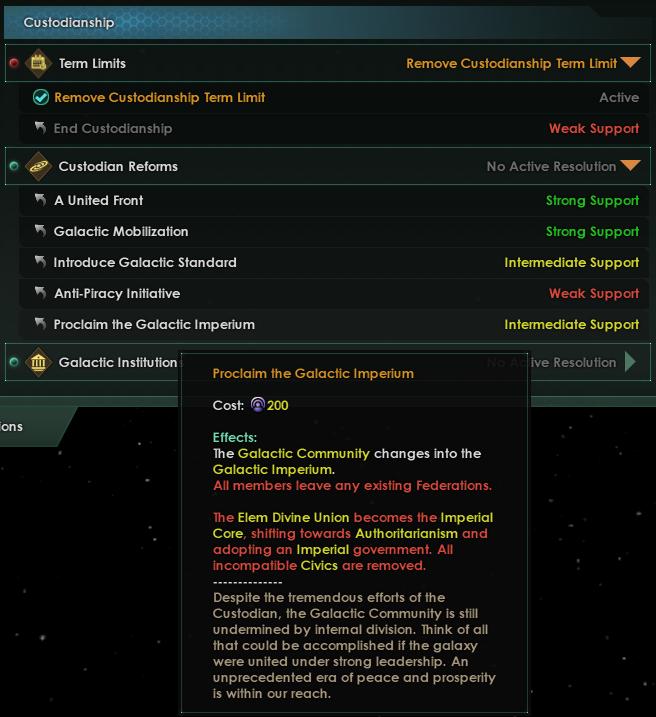 Когда статус хранителя закрепляется навсегда, хранитель может предложить резолюцию о создании Галактического империума.