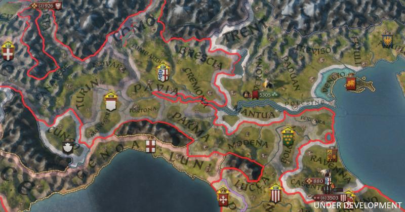 Скриншот карты, показывающий нескольких членов фракции, воюющих со своим сюзереном-игроком