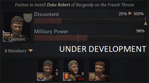 Скриншот, показывающий фракцию в поддержку претендента, членов фракции, недовольство и военную мощь