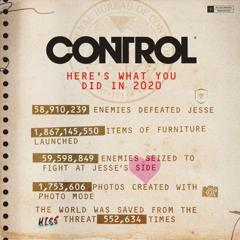 Remedy опубликовала игровую статистику Control за 2020 год