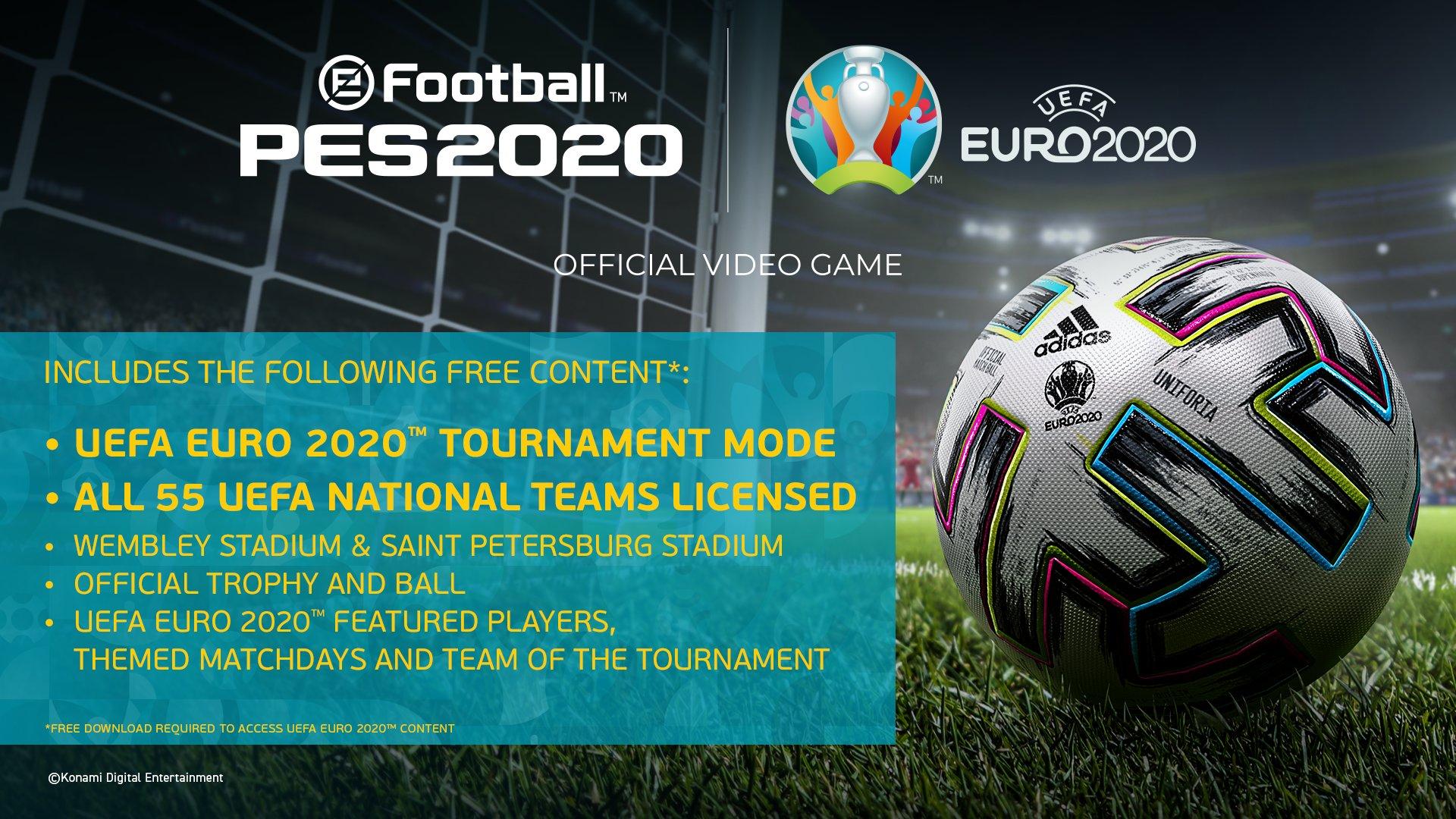 UEFA EURO 2020 в eFootball PES 2020 выйдет 30 апреля в качестве бесплатного обновления