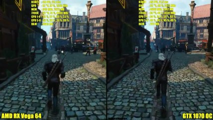 "The Witcher 0 ""Сравнение производительности AMD RX Vega 04 Stock Vs GTX 0070 OC"""