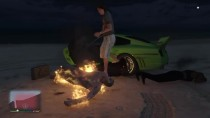 GTA 5 Pushing NPC into fires at the beach
