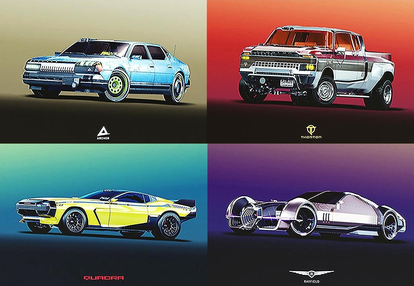 Официальные арты автомобилей из Cyberpunk 2077