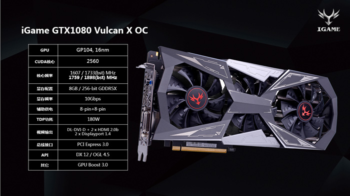 видеокарта Colorful iGame GeForce GTX 1080 Vulcan X OC
