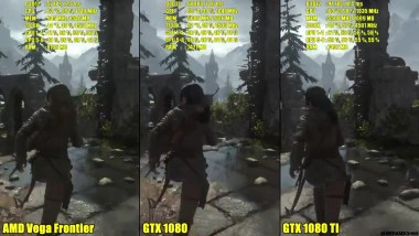 "Rise Of The Tomb Raider ""DX12 AMD Vega Frontier Edition, Vs GTX 1080 TI Vs GTX 1080 FPS Сравнение"""