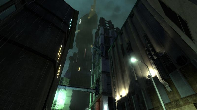 Ночной город Сити 17 с видом на Цитадель!