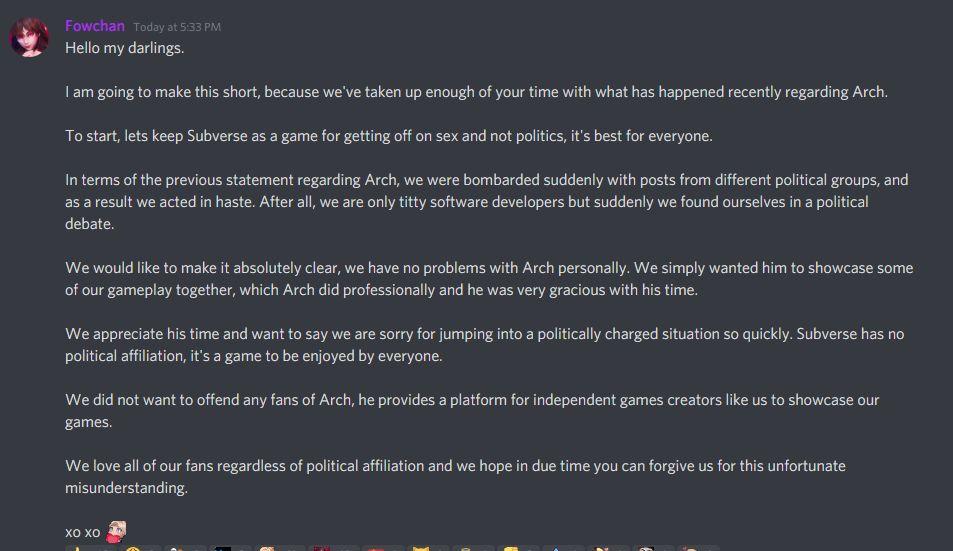 Создателей игры для взрослых Subverse раскритиковали за сотрудничество с YouTube-блогером, которого обвиняли в расизме