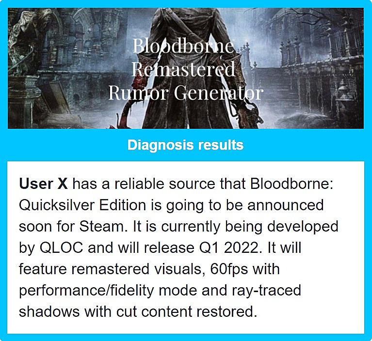 Энтузиаст создал генератор слухов о переиздании Bloodborne