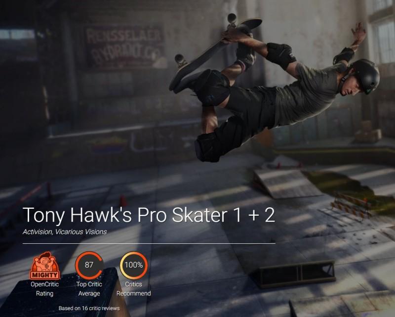 Оценки Tony Hawk's Pro Skater 1+2