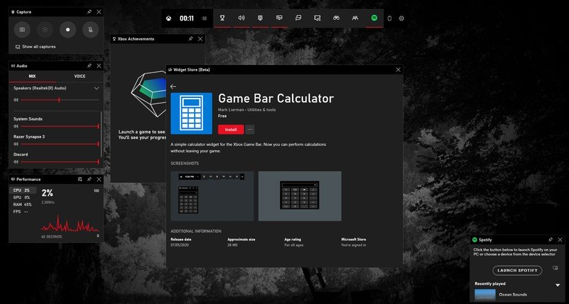 В Xbox Game Bar для ПК теперь есть калькулятор и веб-браузер