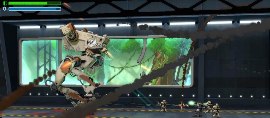 Видео геймплея сайдскроллингового шутера про боевого робота-шагохода Be-A Walker