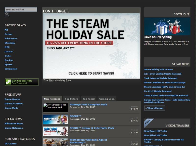 Ранний облик главной страницы Steam