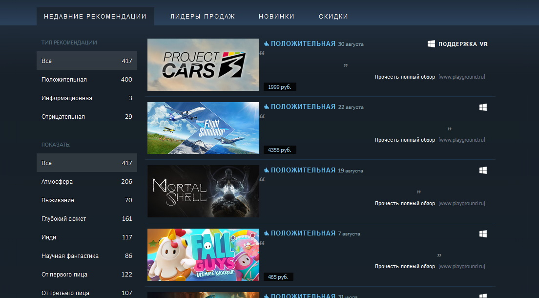 У кураторов Steam пропали все рекомендации, а у пользователей - обзоры