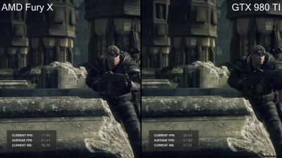 Gears Of War Ultimate Edition Pc DX12 GTX 980 TI Vs AMD Fury X Frame Rate