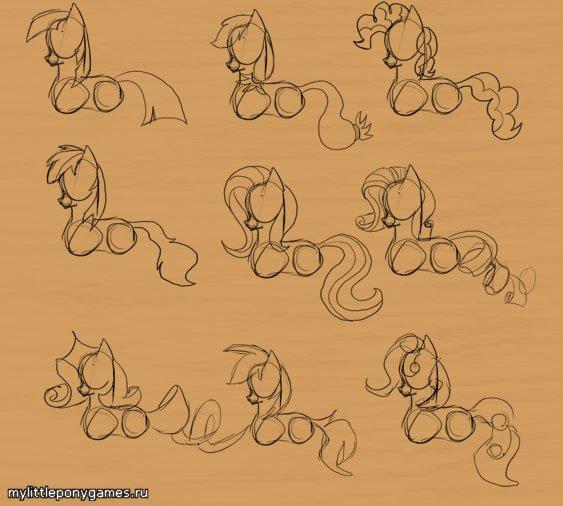 Различные варианты рисования гривы и хвоста поней