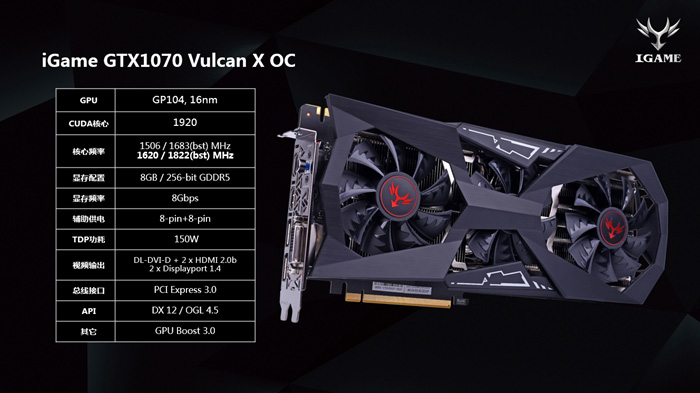 видеокарта Colorful iGame GeForce GTX 1070 Vulcan X OC