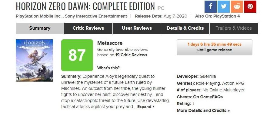Оценки PC-версии Horizon Zero Dawn