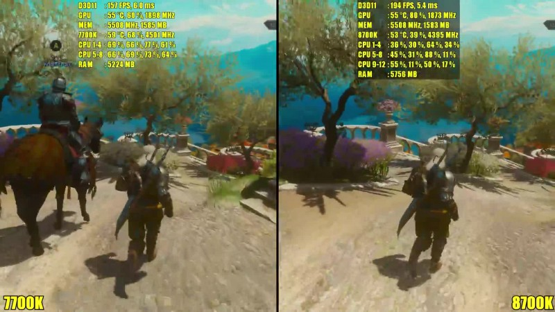 Сравнение частоты кадров - The Witcher 3 8700K Vs 7700K GTX 1080 TI (DudeRandom84)