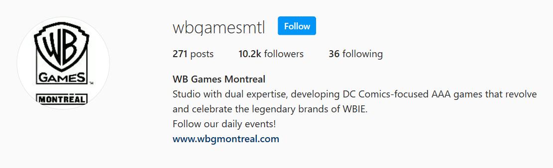 WB Games Montreal обновили описание своего профиля в Instagram