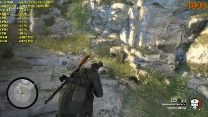 Sniper Elite 0 - Тест производительности AMD Phenom ii X4 055 GTX 050 (1080,900,720p)