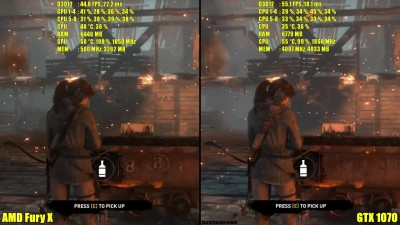 Rise Of The Tomb Raider DX12 GTX 1070 Vs AMD Fury X Частота кадров 7700K сравнение