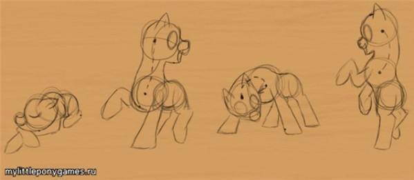 Рисование позы пони