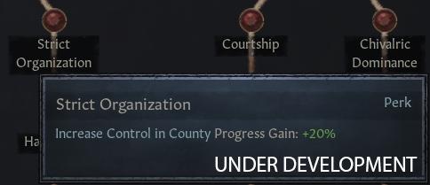 [Чёткая организация — Усилить контроль над графством, скорость прогресса: +20%]