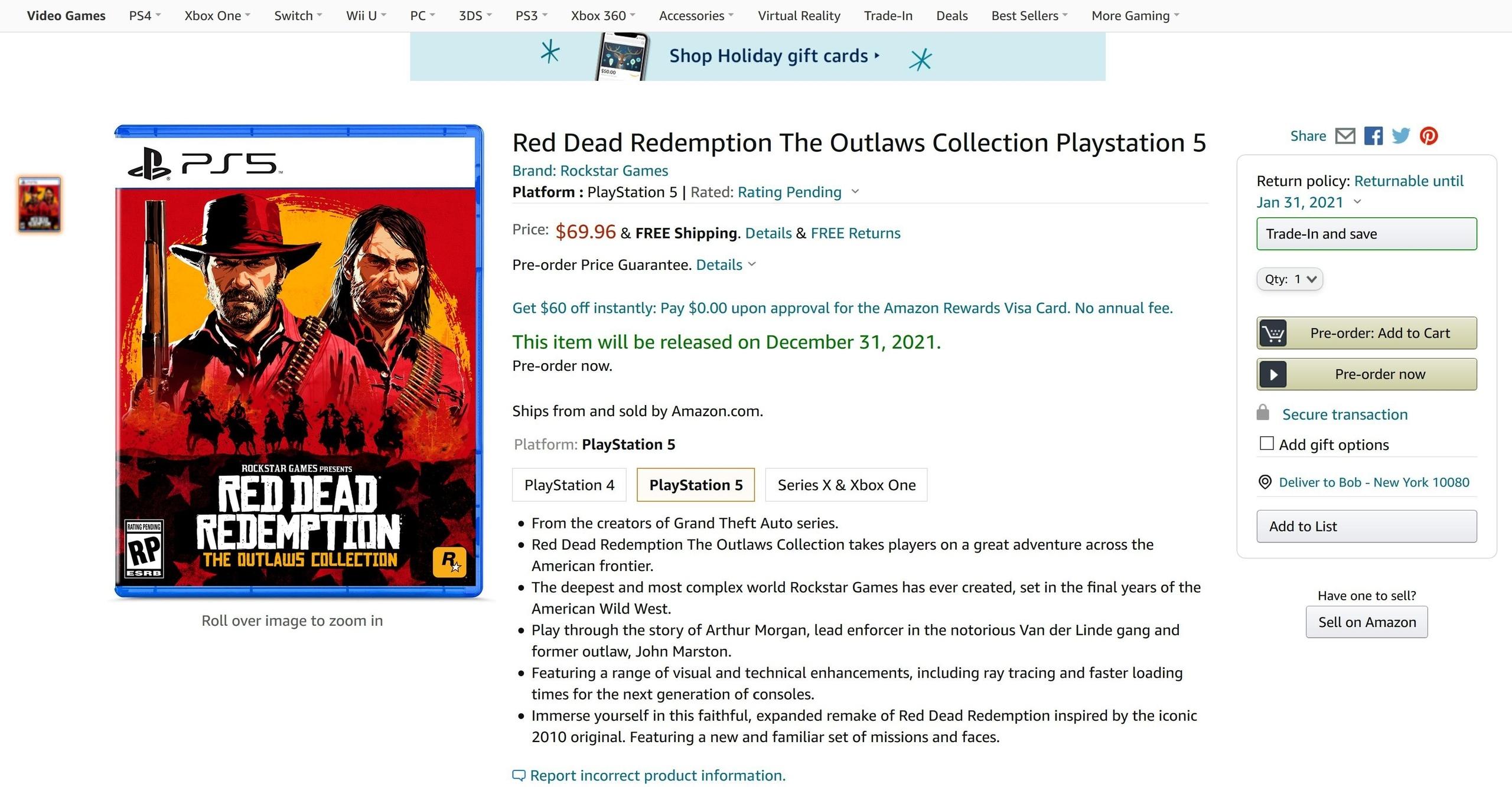 Слух: На Amazon появился ремейк Red Dead Redemption I и ремастер Red Dead Redemption II для PS5 и Xbox Series!