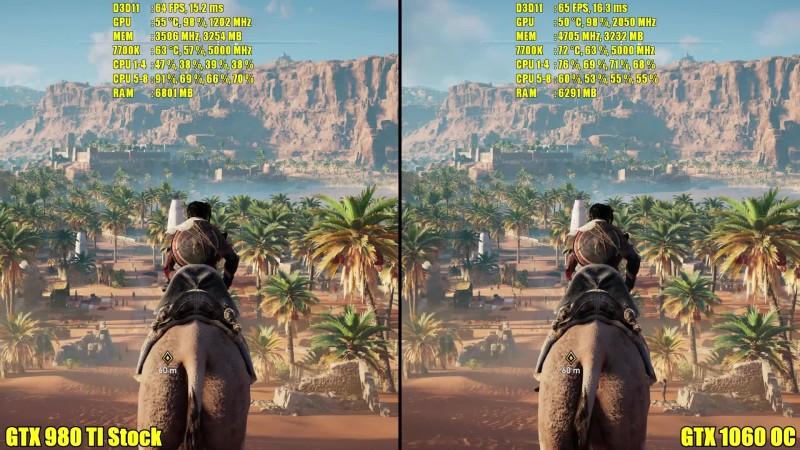 Сравнение частоты кадров - Assassin's Creed Origins GTX 1060 Overclocked Vs GTX 980 TI Stock
