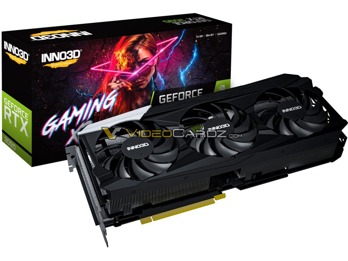 Огромная видеокарта Inno3D GeForce RTX 3090 iCHILL X4 получит четыре вентилятора