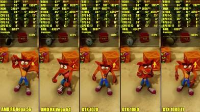 Сравнение - Crash Bandicoot N Sane Trilogy 1080 TI Vs 1080 Vs 1070 Vs AMD 64 Vs AMD 56